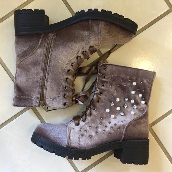 Madden Girl Brown Velvet Pearl Bling Combat Boots d2eae50990
